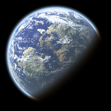 Single planet. With deep atmosphere isolated on black Royalty Free Stock Images