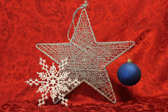 Single 5 point star with decorations Royalty Free Stock Photos