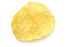Single potato chip close-up. On the white background Stock Images
