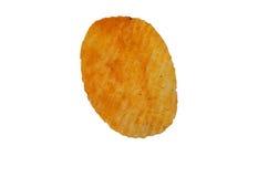 Single potato chip isolated on white background Stock Photos