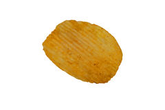 Single potato chip isolated on white background Royalty Free Stock Photos
