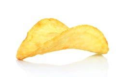 Single potato chip on white background Stock Photography