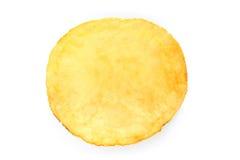 Single potato chip on white background Royalty Free Stock Photography