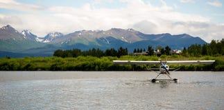 Single Prop Airplane Pontoon Plane Water Landing A Stock Photo