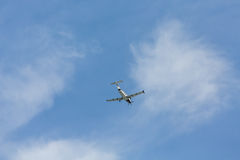 Single Prop Plane from Below Royalty Free Stock Photo