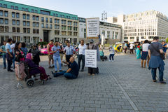 A single protest action against Zionism on the Pariser Platz in front of the Brandenburg Gate. Royalty Free Stock Photos