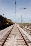Single railway to horizon Stock Photo