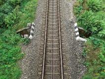 Single railway track top view, India royalty free stock photos