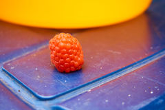 Single raspberry with blue and yellow background. Close up from a single raspberry with blue and yellow background royalty free illustration