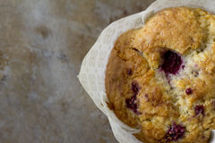 Single Raspberry Muffin from Above Royalty Free Stock Photography
