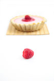 Single raspberry with raspberry tart. Single raspberry and raspberry tart in the background Royalty Free Stock Photos