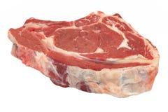 Single Raw Beef Ribeye Steak Isolated On White, Overhead, Closeu Royalty Free Stock Photo