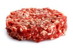 Single raw hamburger patty isolated on white. Single raw hamburger patty on white Stock Images