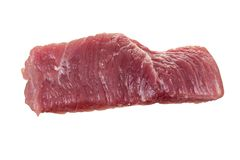 Single raw meat piece of pork or beef isolated on white background. Single raw meat piece of pork or beef isolated on white stock photo