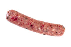 Single Raw Sausage Isolated on White Stock Image
