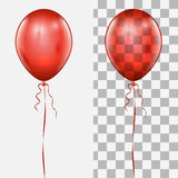 Single realistic red balloon with the string. Realistic red balloon isolated on white and checker background vector template vector illustration