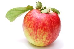 Single Red Apple. Red Apple with Leaves Isolated on White Background royalty free stock photos