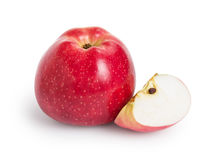 Single red apple with lobule. On white background royalty free stock photography