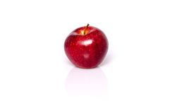 Single red apple. With shadow and reflection on white stock photography