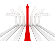 Single red arrow leader right direction forward. 3d render illustration Stock Images