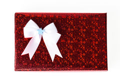 Single red box of present wrapping Royalty Free Stock Photography