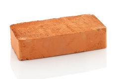 Single red brick  on white background Royalty Free Stock Photography