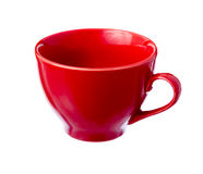 Red ceramic cup. Single red ceramic cup isolated on white background Stock Image