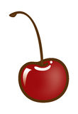 Single Red Cherry with Stem Royalty Free Stock Image