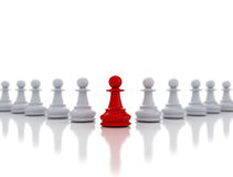 Single red chess pawn leadership Royalty Free Stock Photo