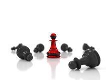 Single red chess pawn standing Royalty Free Stock Image