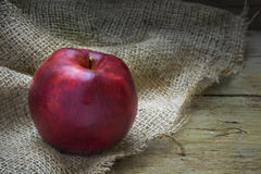 Single red christmas apple on rough bag fabric and rustic wood Royalty Free Stock Image