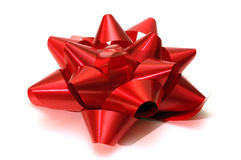 A single red christmas bow Stock Images