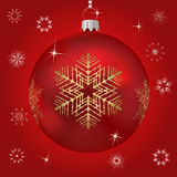 Single red Christmas tree ball Stock Image