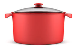 Single red cooking pan isolated on white Royalty Free Stock Photos
