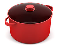 Single red cooking pan isolated on white Royalty Free Stock Photo