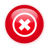 Single red decline button. On a white background Stock Images