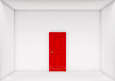 Single red door closed on white box Stock Photo