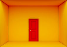 Single red door closed on the yellow box Royalty Free Stock Image