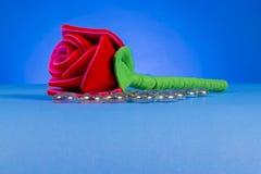 Single Red Fabric Rose Stock Photos