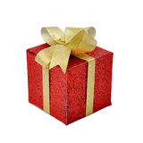 Single red gift box. With golden ribbon and bow on white background Stock Photography