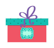 Single red gift box with purple ribbon vector on white background. Stock Photo