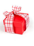 Single red gift box with ribbon Stock Photography