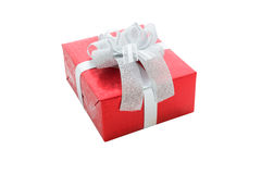 Single red gift box with silver ribbon isolated on white backgro. Und with clipping path Royalty Free Stock Photos