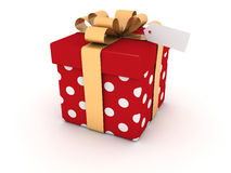 Single Red gift box on white  background Royalty Free Stock Image