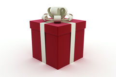 Single red gift box with white bow Stock Image