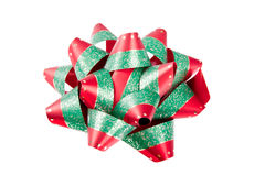 Single Red Green Christmas Bow Stock Photos