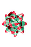 Single Red Green Christmas Bow royalty free stock photo