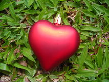 Single red heart against grass background. Christmas decoration Royalty Free Stock Photo