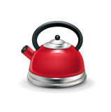 Single red kettle isolated on white Stock Photos