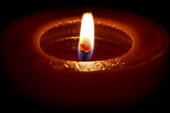 Single Red Macro Candle Light Royalty Free Stock Images